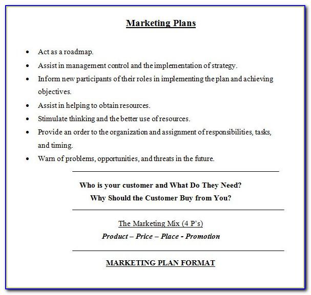Marketing Plan Template Sample Free