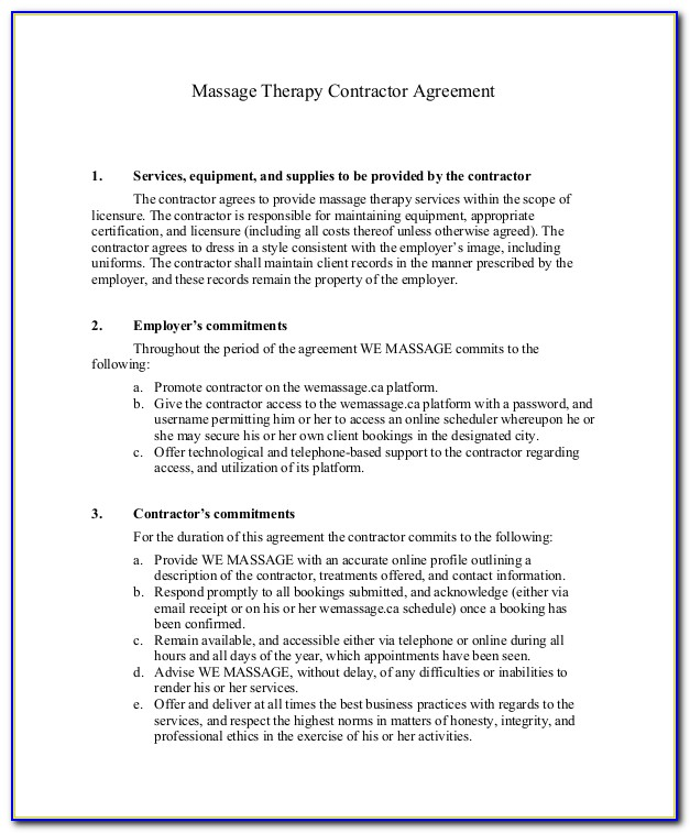 Massage Therapist Contract Template