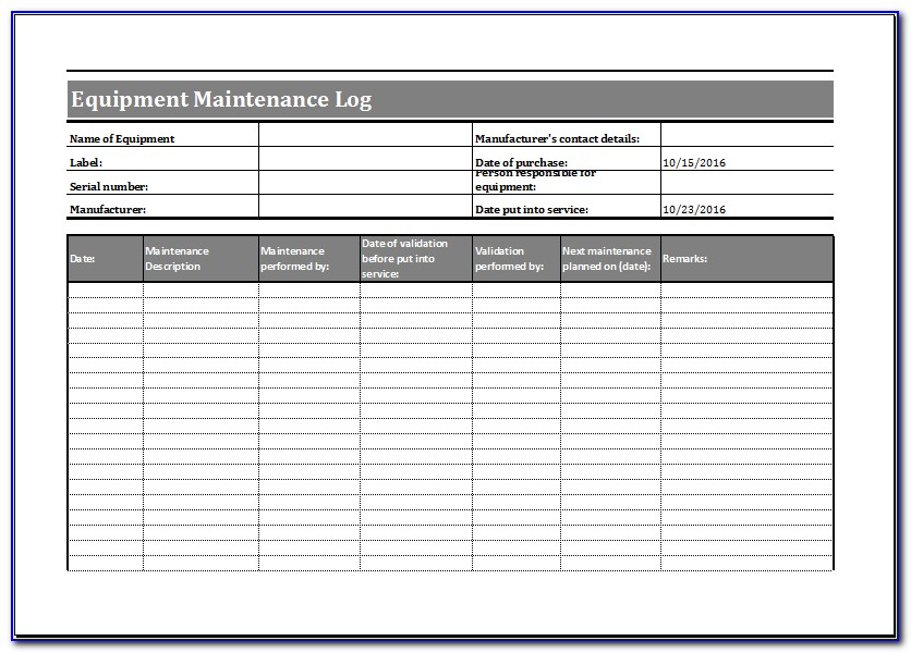 Mechanical Maintenance Log Book Format