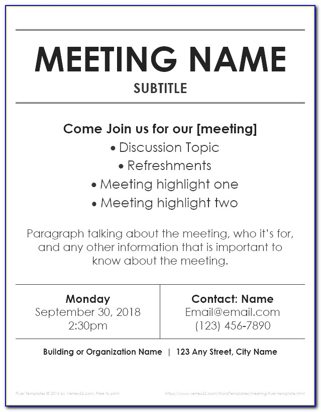Meeting Flyer Template Free