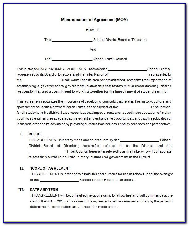 Memorandum Of Understanding Free Template Agreement
