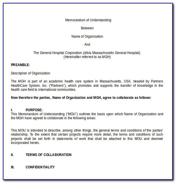 Memorandum Of Understanding Sample Template Free