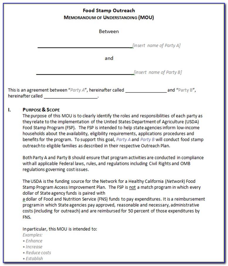 Memorandum Of Understanding Template Free Download Australia