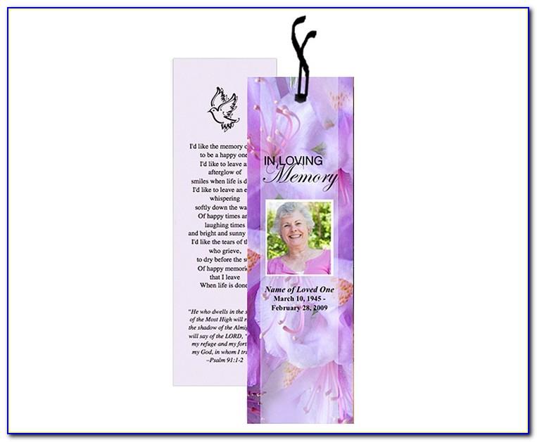 Memorial Bookmarks Template Free