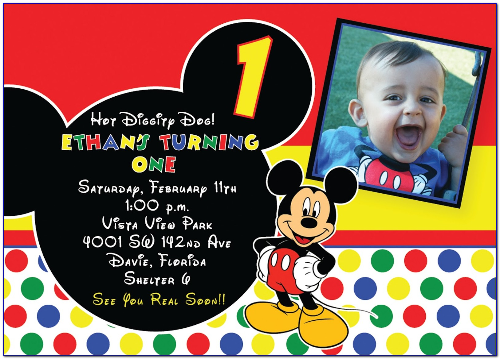 Mickey Mouse 1st Birthday Invitation Template