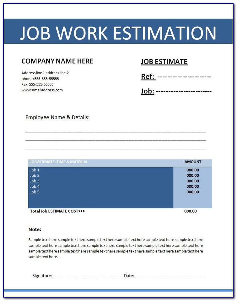 Microsoft Excel Construction Estimate Template