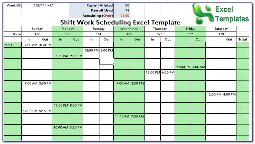 Microsoft Excel Daily Work Schedule Template