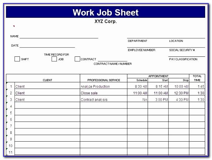 Microsoft Excel Work Schedule Template Rakdd New Job Sheet Template