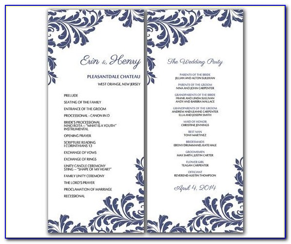 Microsoft Office Word Wedding Program Template