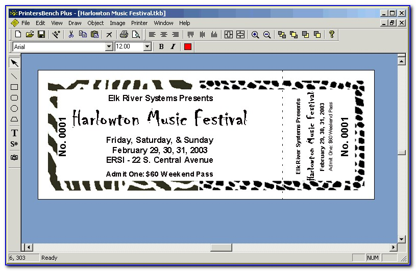Microsoft Word 2010 Raffle Ticket Template