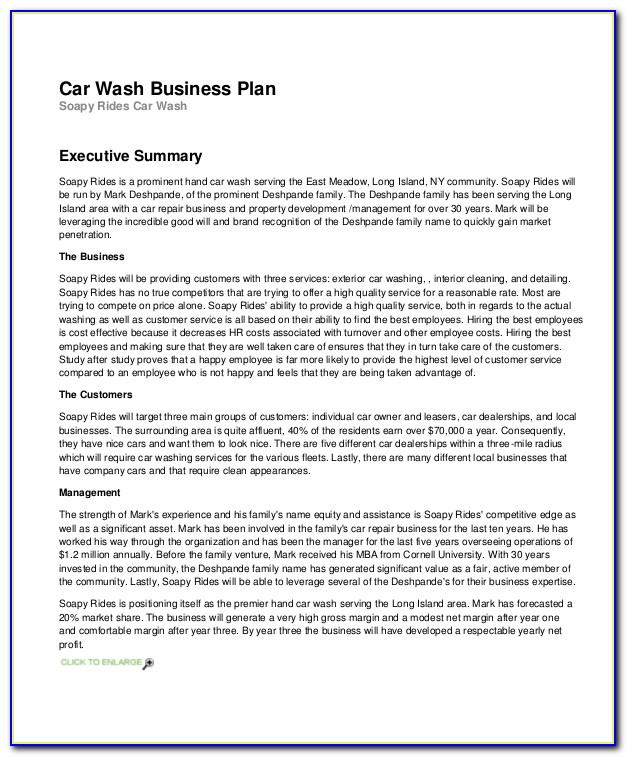 Mobile Car Wash Business Plan Template Pdf