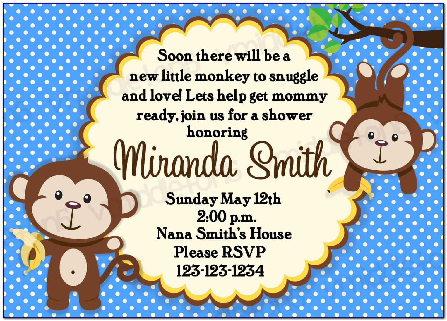 Monkey Baby Shower Invitations Templates Free