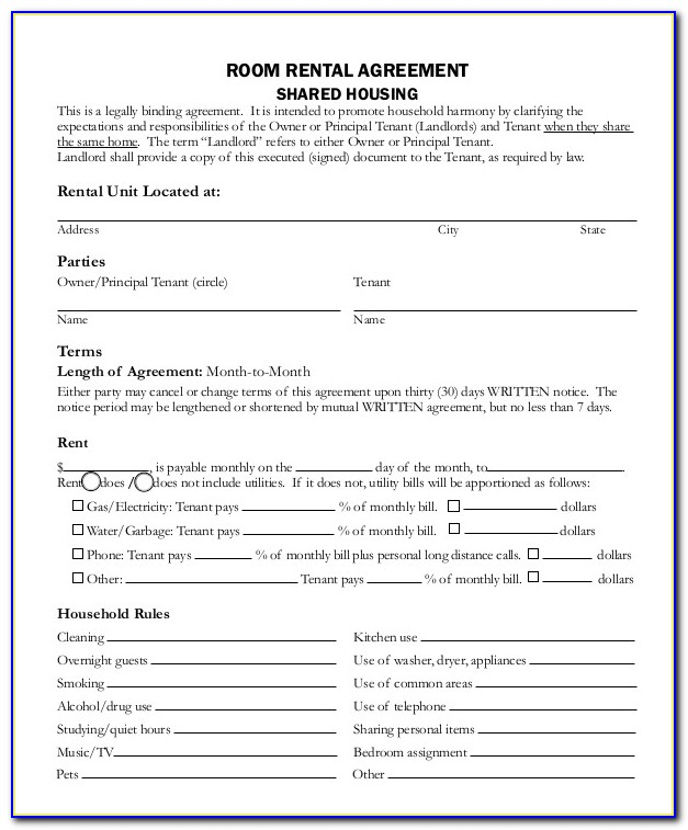Month To Month Room Rental Agreement Template Word