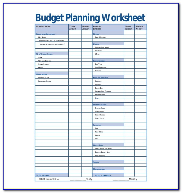 Monthly Budget Planner Free Printable