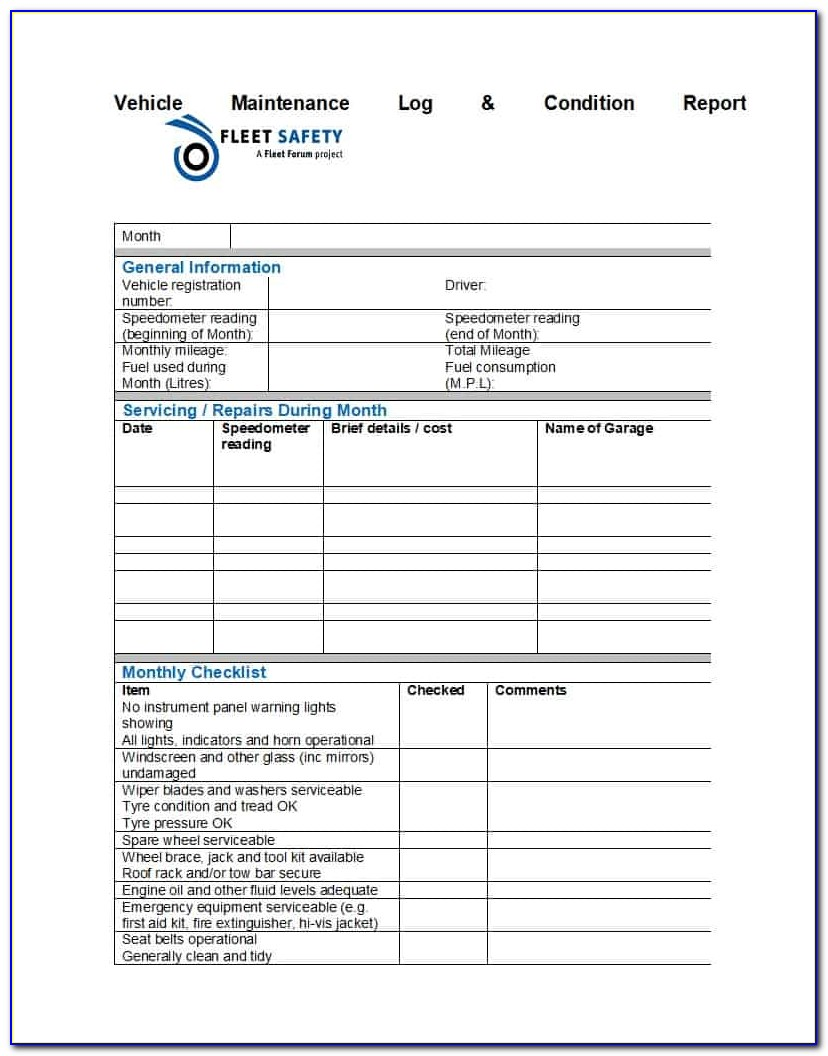 Fleet Management Spreadsheet Free Download In 40 Printable Vehicle Maintenance Log Templates Template Lab