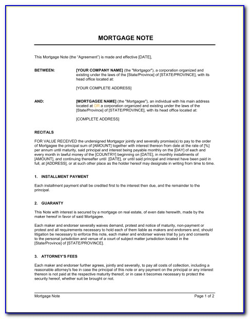 Mortgage Document Template Canada