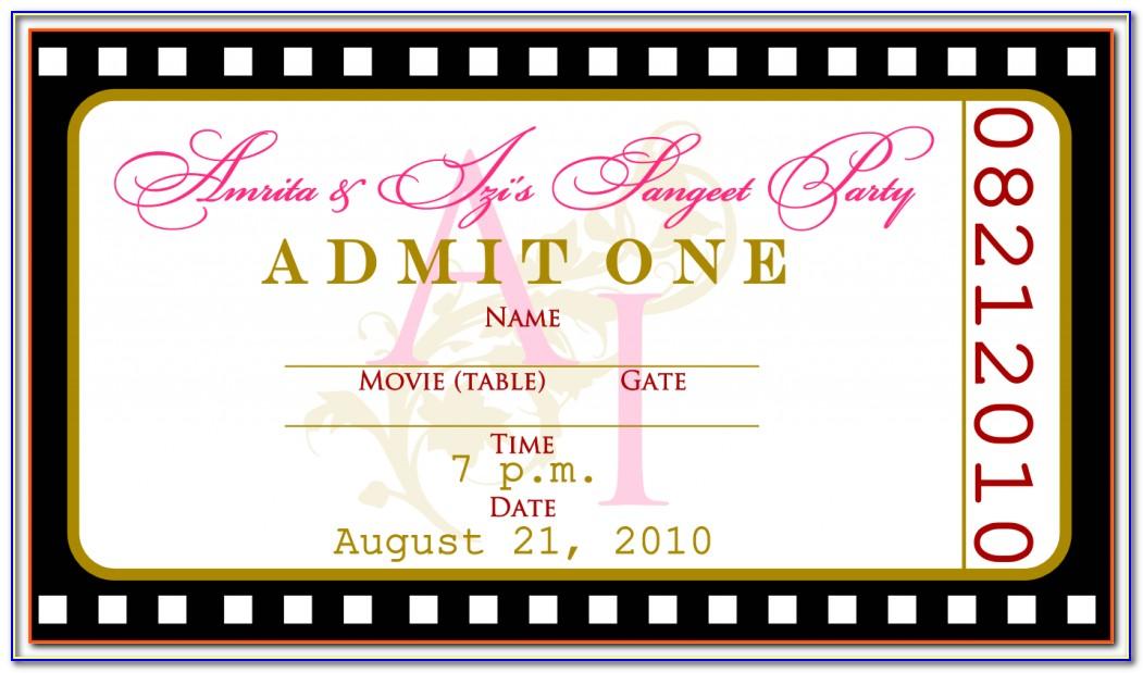 Movie Ticket Invitation Free Templates