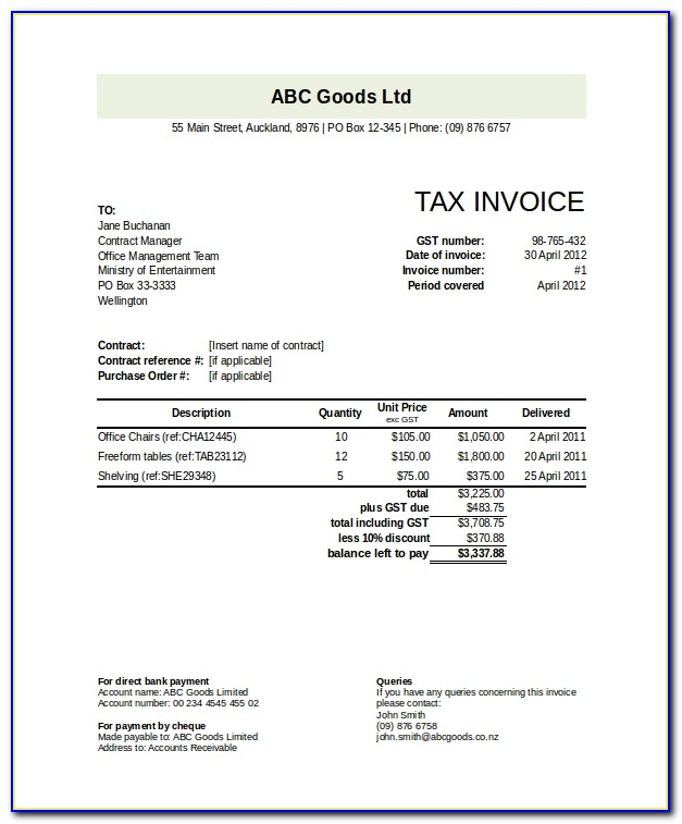 Moving Invoice Example