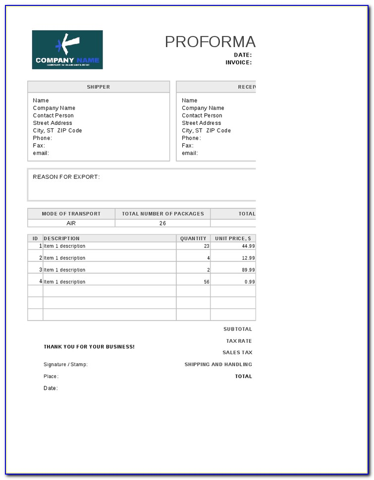 Moving Invoice Template