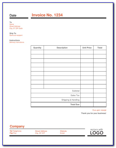 Ms Word Invoice Template