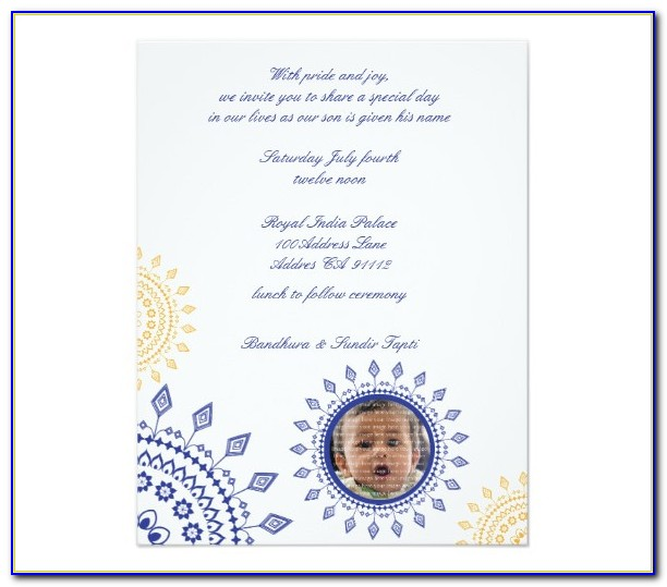 Naming Ceremony Invitation Sample