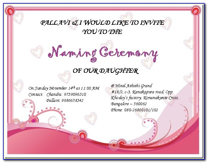 Naming Ceremony Invitation Template India