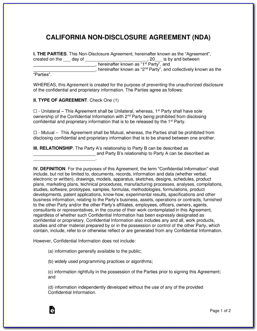 Nda Agreement Template Free