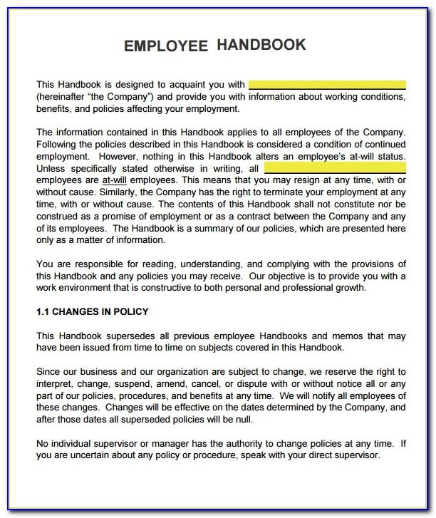New Employee Handbook Examples