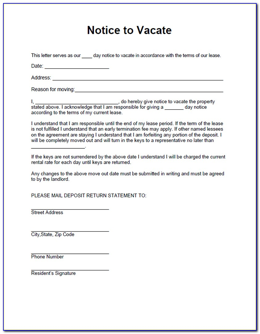 Notice To Vacate Premises By Tenant Template