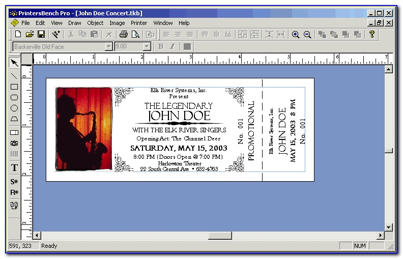 Numbered Ticket Template For Publisher