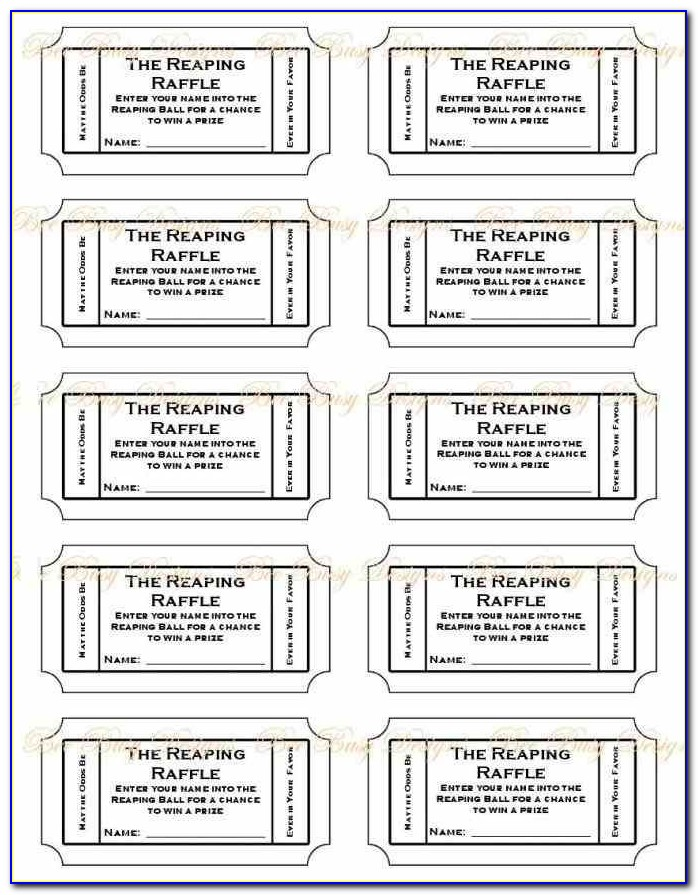 Numbered Tickets Template Free