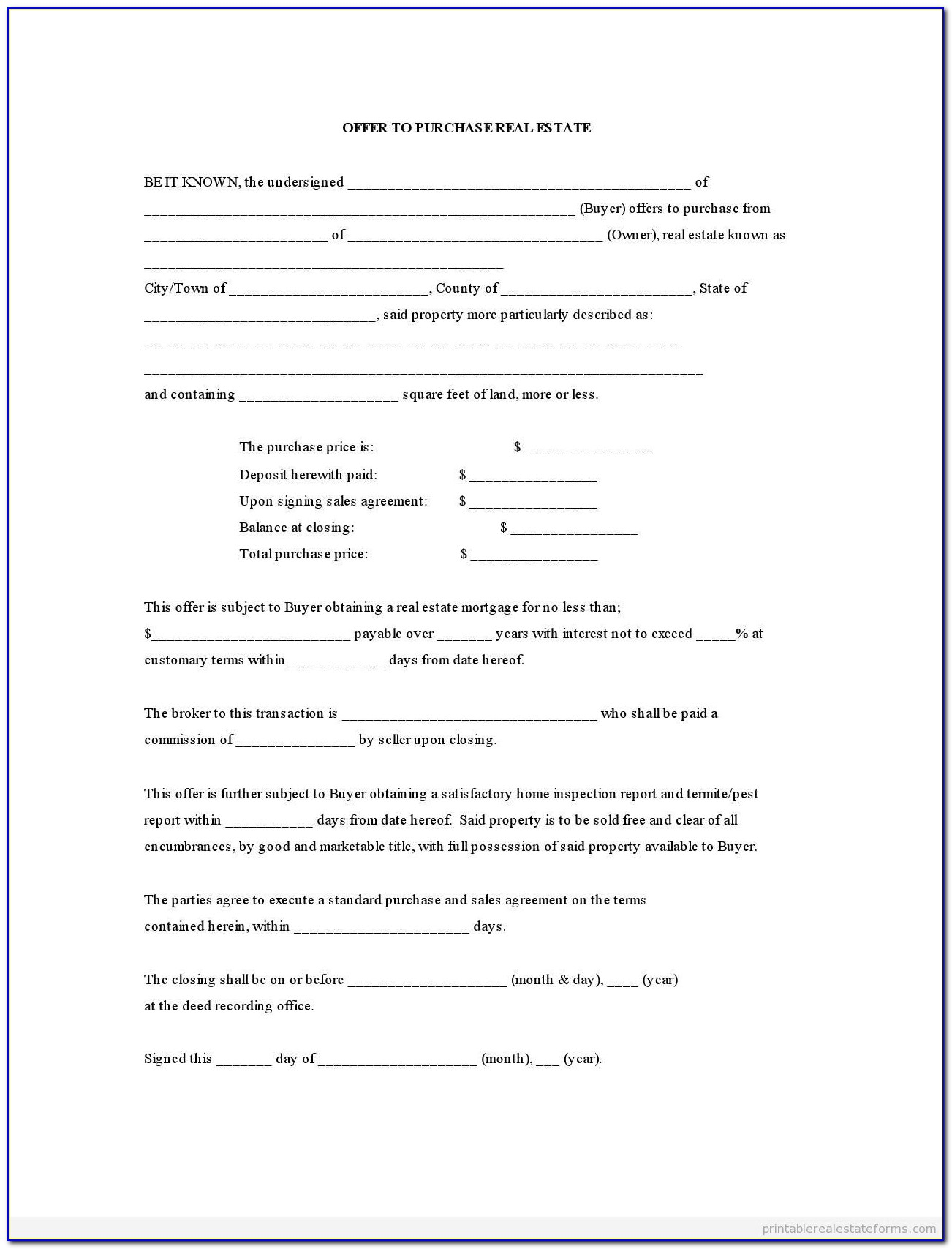 Offer To Purchase Contract Template