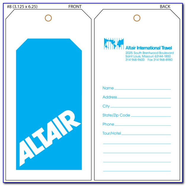 Online Printable Luggage Tag Template