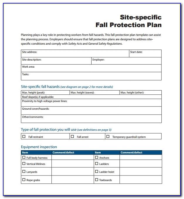 Osha Fall Protection Plan Template