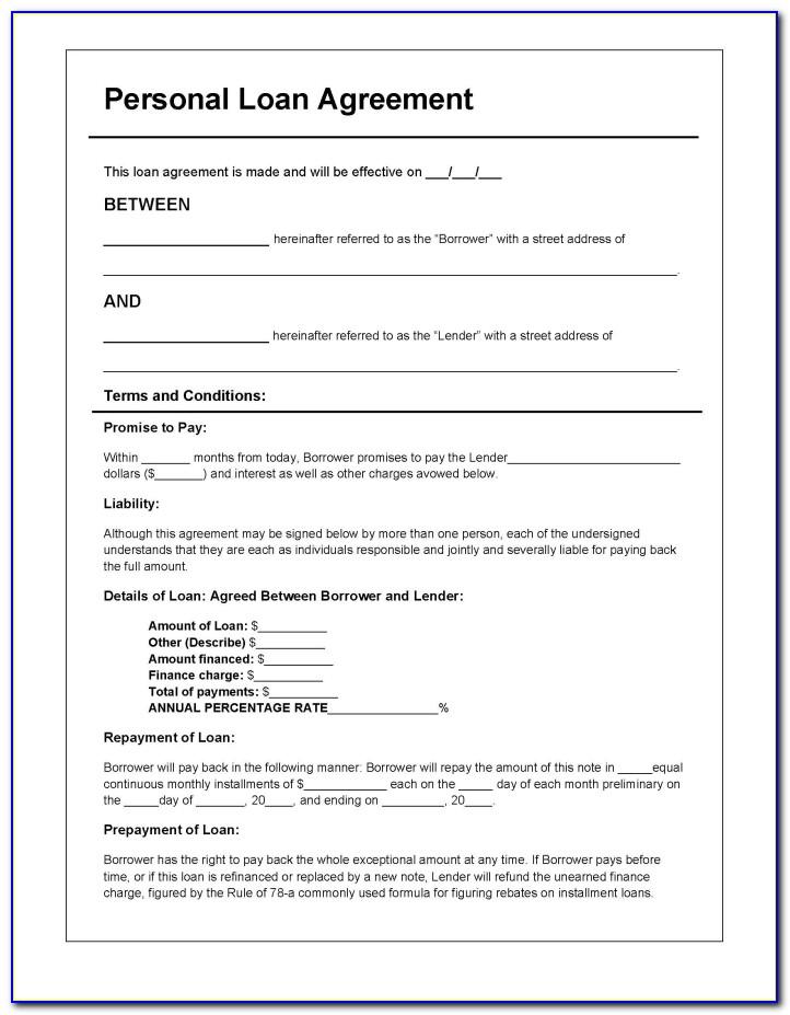 Personal Loan Template Free