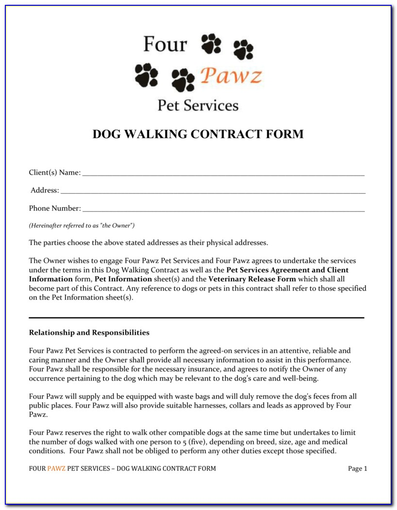 Pet Sitting Service Agreement Template