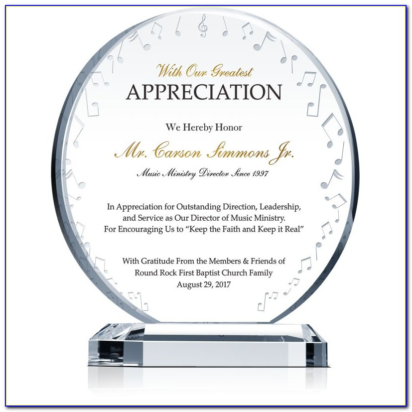 Plaque Of Appreciation Sample Text For Speakers