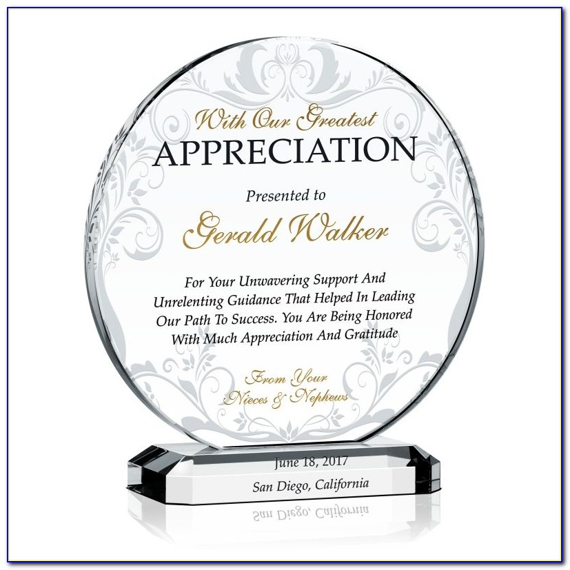 Plaque Of Appreciation Sample Wordings