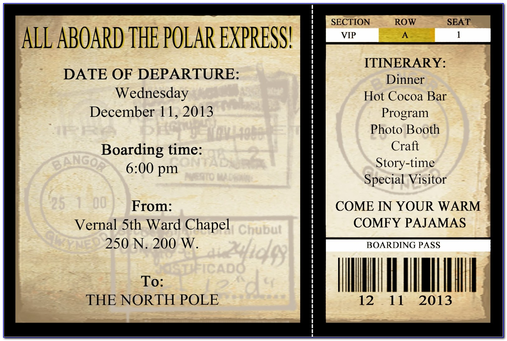 Polar Express Ticket Template Free