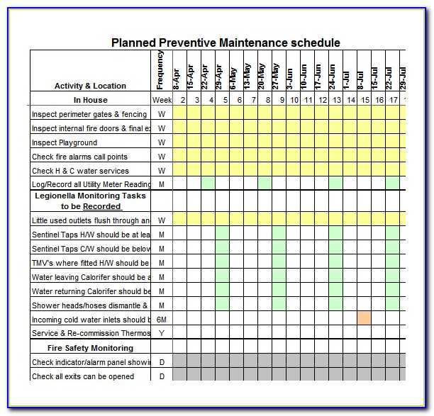 Preventive Maintenance Spreadsheet Template