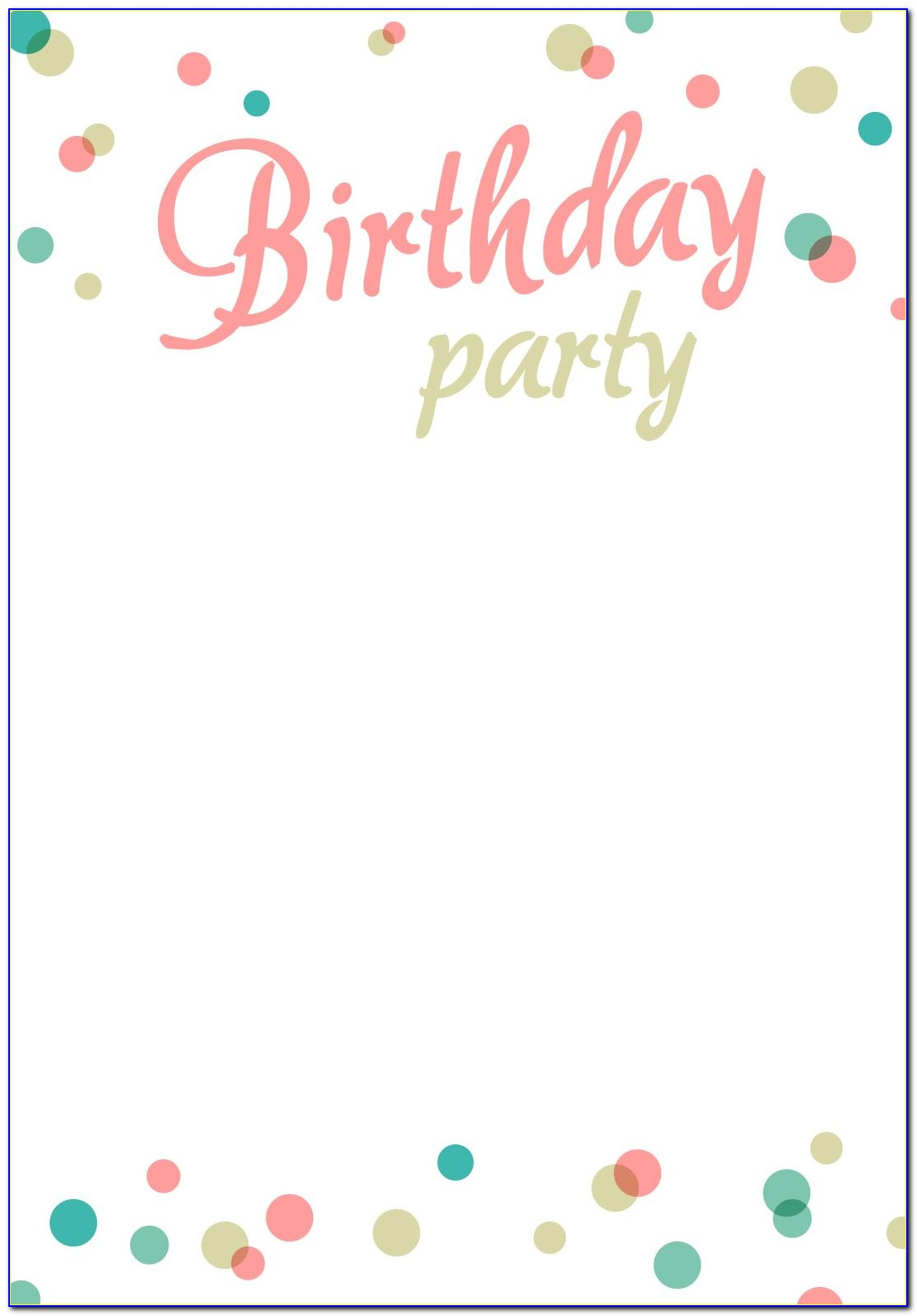 Printable Birthday Party Invite Template