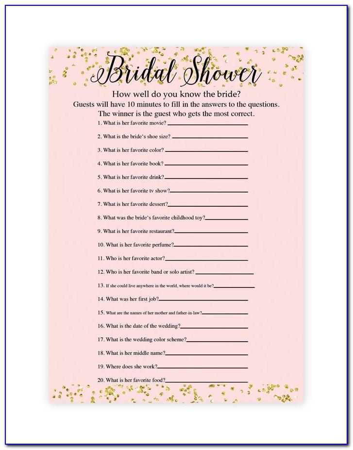 Printable Bridal Shower Games Templates