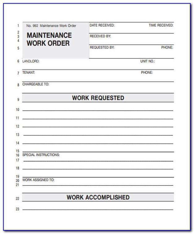 Printable Work Order Template