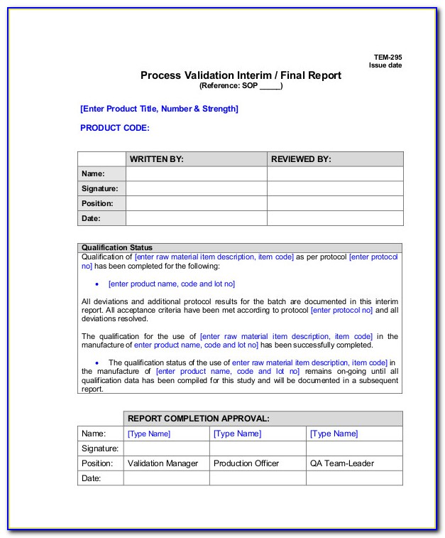 Process Validation Template Excel