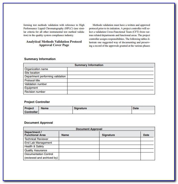 Process Validation Template Free