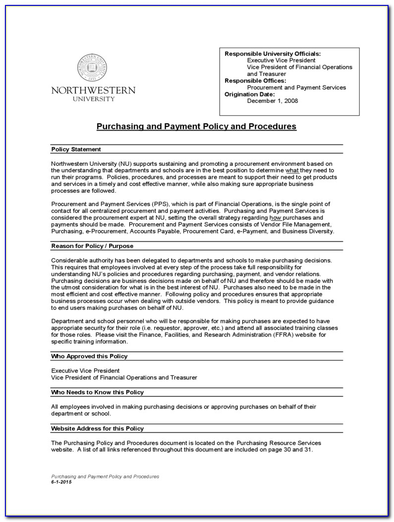 Procurement Policy Template For Small Business
