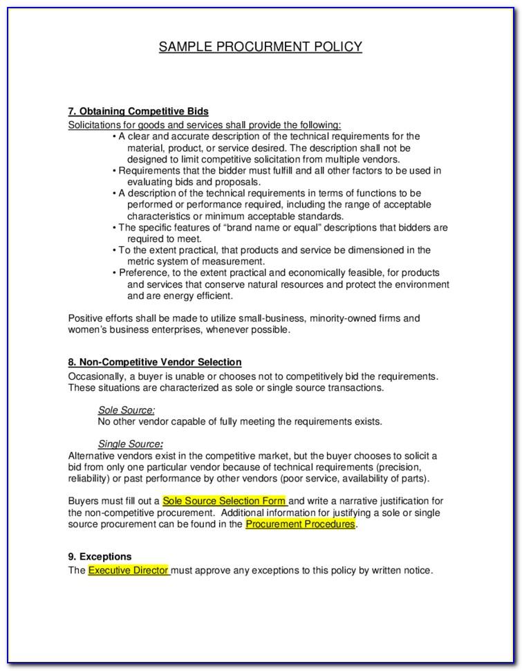 Procurement Policy Template Uk