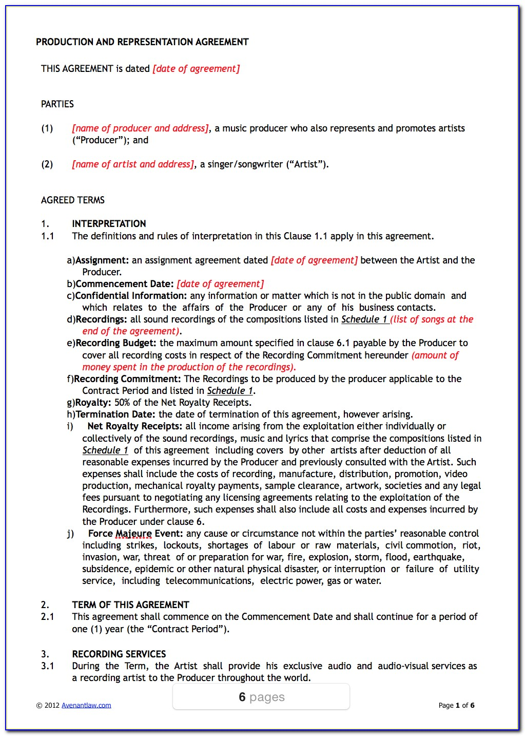 Producer Lease Contract Template