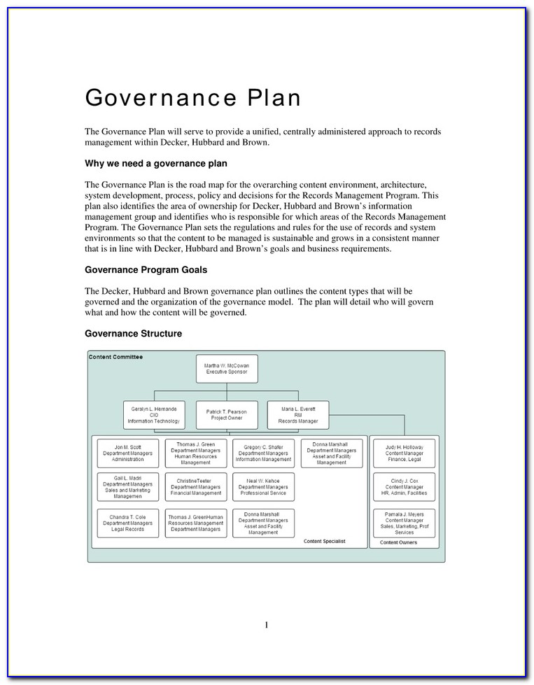 Project Governance Plan Template