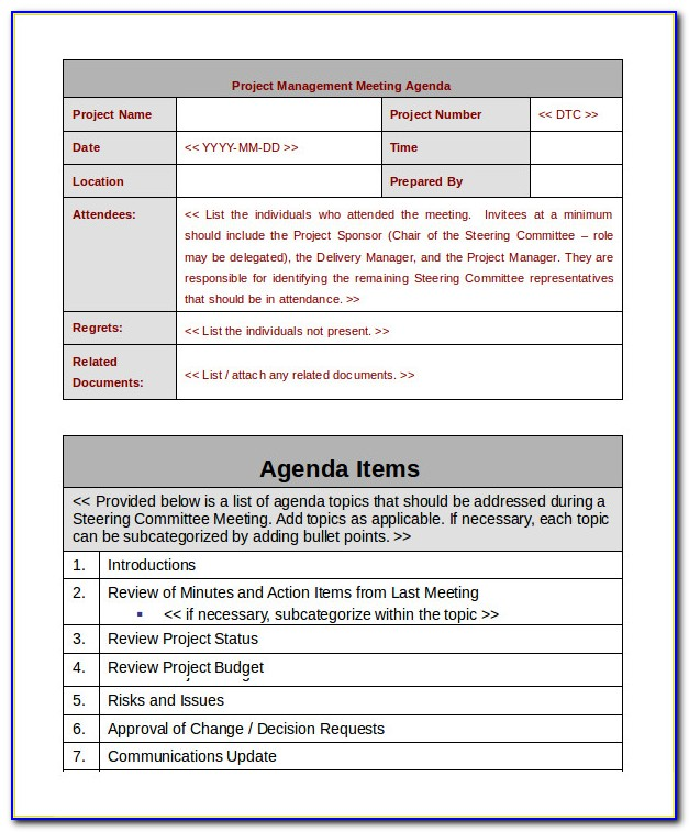 Project Management Meeting Agenda Example